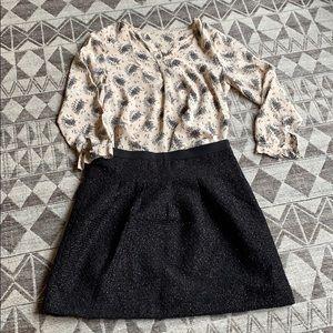 Joie 100% silk blouse with black floral details